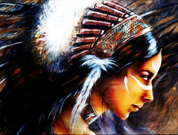 Structured abstract background of beautiful mystic painting of a young indian woman wearing a big feather headdress