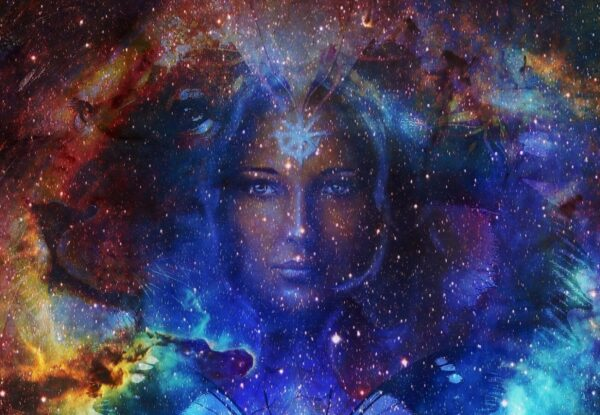 Beautiful painting of a goddess woman with space color background