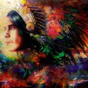 eautiful Painting Of A Young Warrior Wearing A Beautiful Feather Headdress