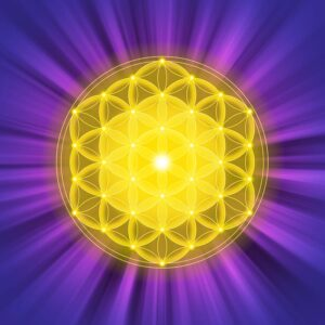 Golden Spiritual Geometry Shape With Purple Background
