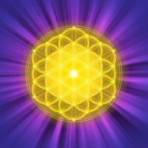 Golden spiritual geometry shape with purple background