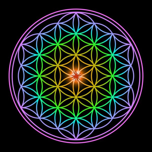 Colorful spiritual geometry shape with black background