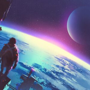 An Astronaut Standing On A Surface Of A Planet- Spaceship Concept Art