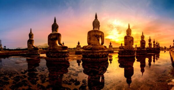 Evening view of the buddhist park of thailand, thung yai, nakhon si thammarat province - giants of stone