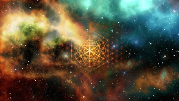 Space or galaxy abstract art with geometry shape