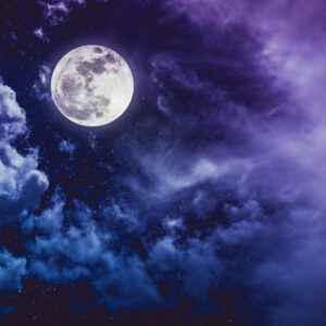 Blue Moon Light Up The Sky In Night