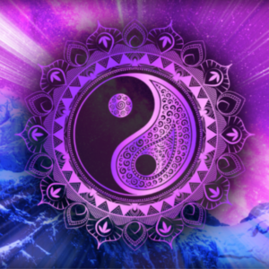 yin and yang symbol in purple and blue colours