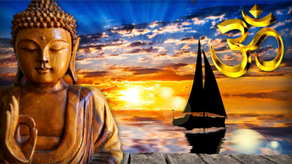 Guru sculpture sitting in sunset with a sailboat in the backbround