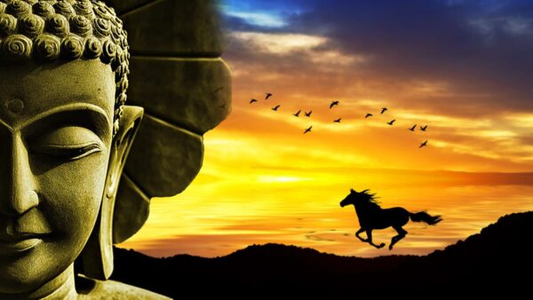 Guru head with horse and birds in the backround. Sunset