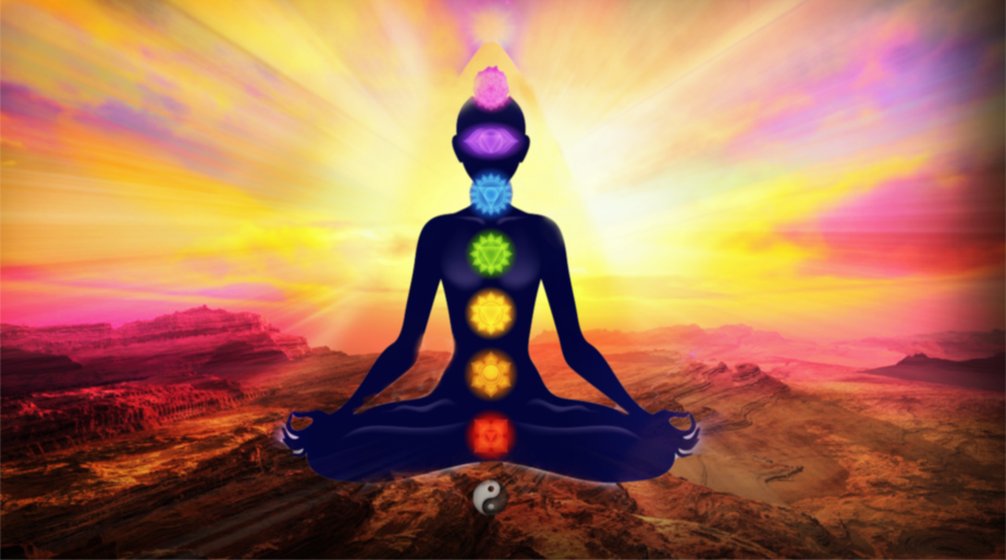 chakra women meditating with diffuse colors and landscape in the background. Pink illustration